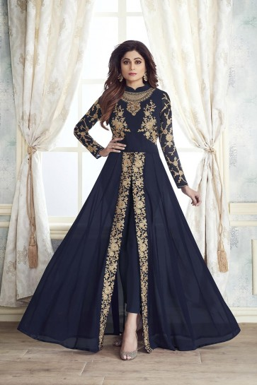 Navy blue Georgette Anarkali Suits