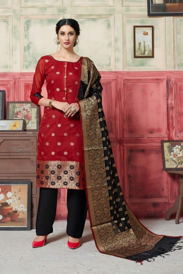Red Jacquard and silk Salwar Kameez