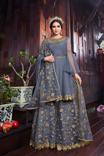 Dark grey Net Anarkali Suits