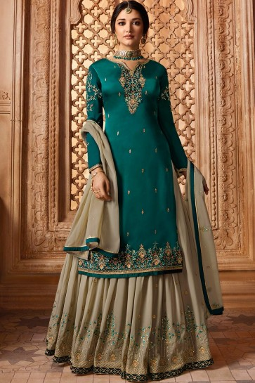 Teal blue Satin georgette Sharara Suits