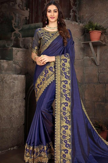 Art Silk Royal Blue Saree in Embroidered