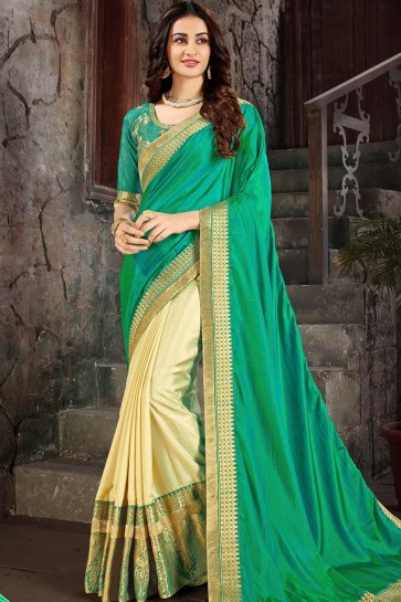 Sea green & cream  Art silk  saree