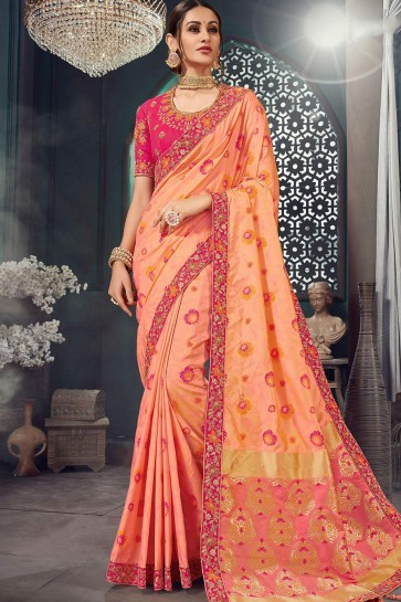 Dark peach Jacquard and silk  saree