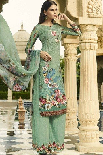 Light green Crepe Palazzo Suits