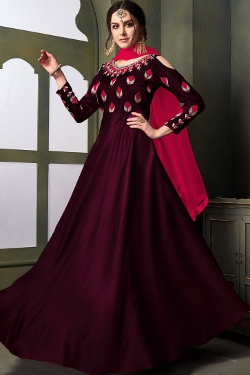 Wine  Satin and silk Anarkali Suits