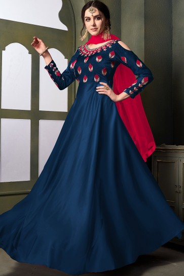 Blue Satin and silk Anarkali Suits