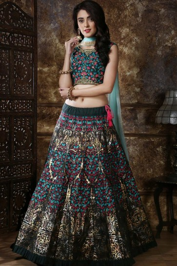 Pine green Art silk Lehenga Choli