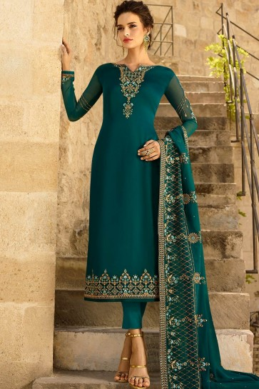 Teal blue Georgette and satin Straight Pant Suit