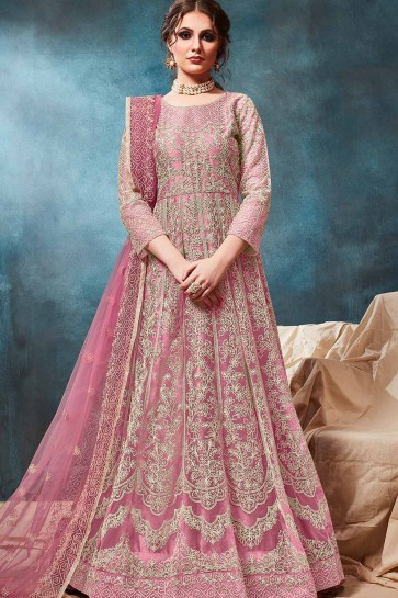 Pink Net Anarkali Suits