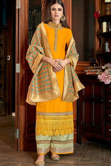 Mustard yellow Art silk Sharara Suits