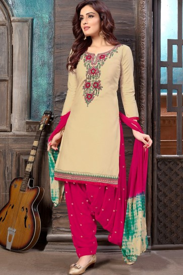 Cream Cotton and satin Patiala Suits