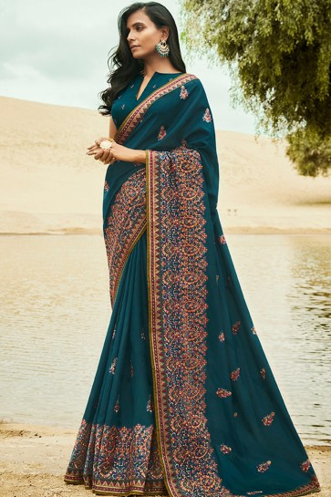 Dark blue Silk  saree
