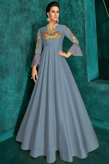 Steel blue Art silk Gown Dress