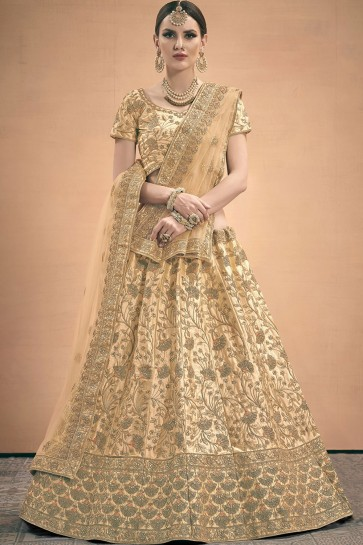 Cream Satin Lehenga Choli