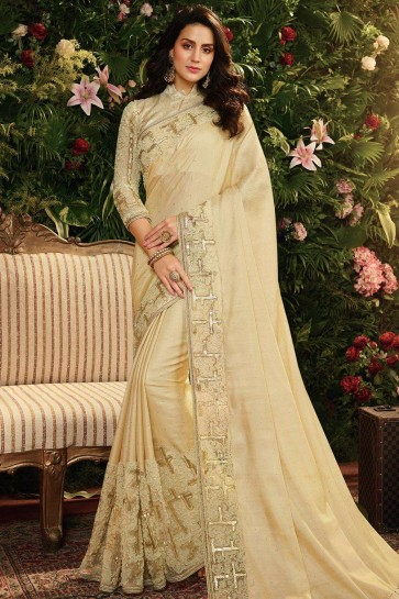 Cream Net,satin and silk  saree