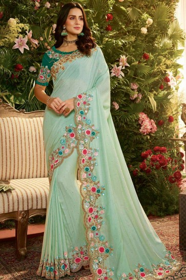 Turquoise blue Net and art silk  saree