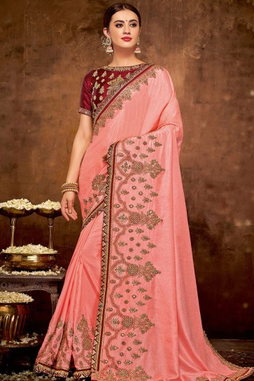 Pink Georgette and silk  saree