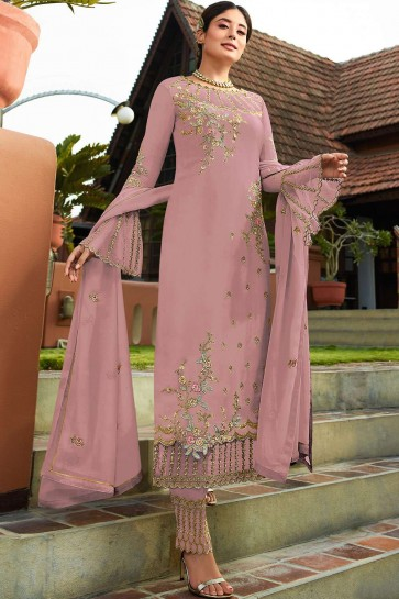 Pink Georgette Palazzo Suits
