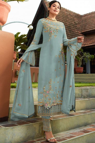 Sky blue Georgette Palazzo Suits