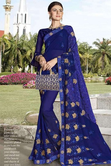 Royal blue Georgette saree