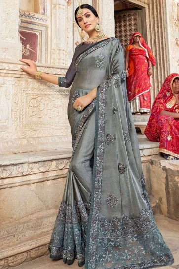 Grey Georgette and silk  saree