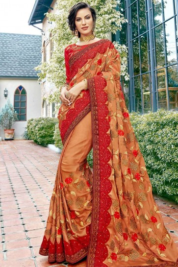 Red,beige Georgette and satin  saree
