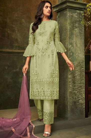 Light green Net Palazzo Suits