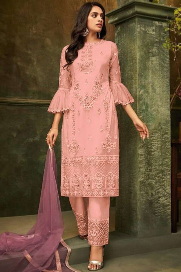 Pink Net Palazzo Suits