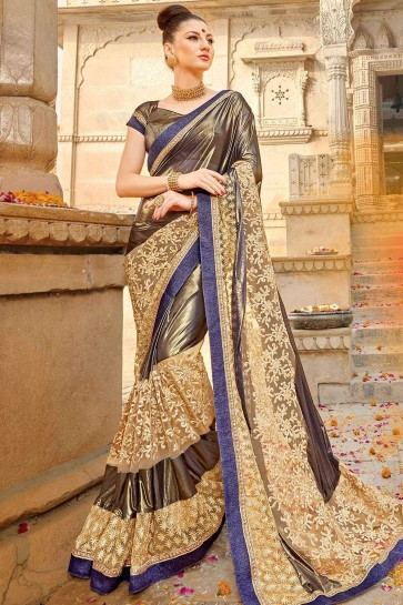 Copper cream Net and lycra  saree