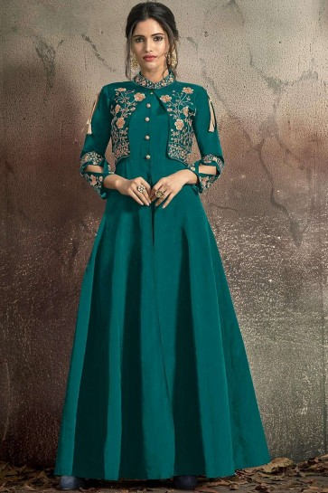 Teal blue Taffeta and art silk Gown Dress