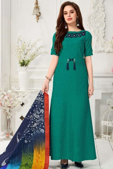 Teal green Cotton Gown Dress