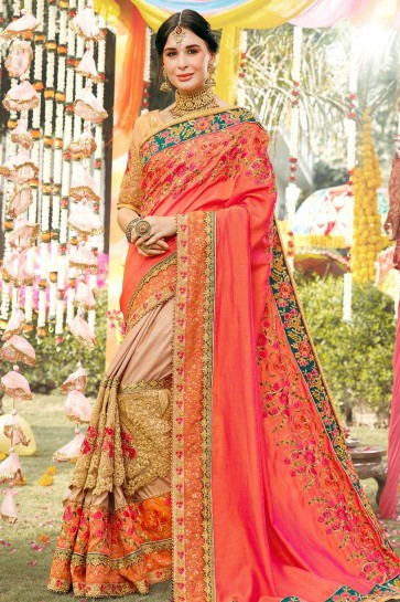 Orange,beige Silk  saree