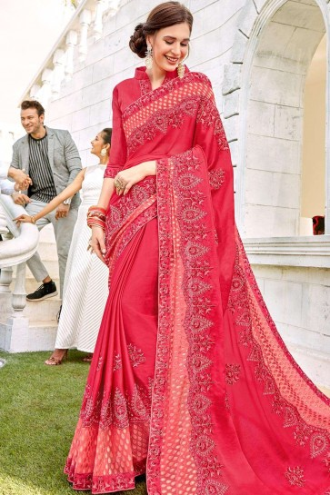 Dark pink Brasso and satin  saree