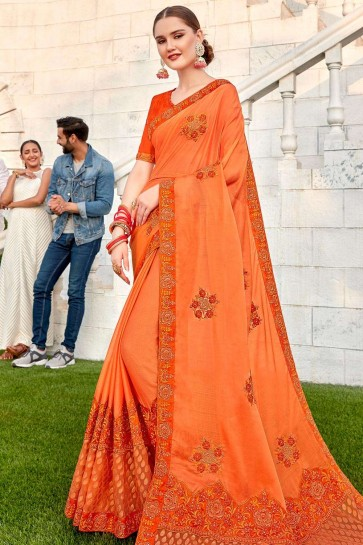 Orange Brasso and silk  saree