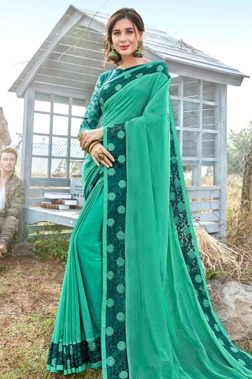 Sea green Georgette and satin  saree