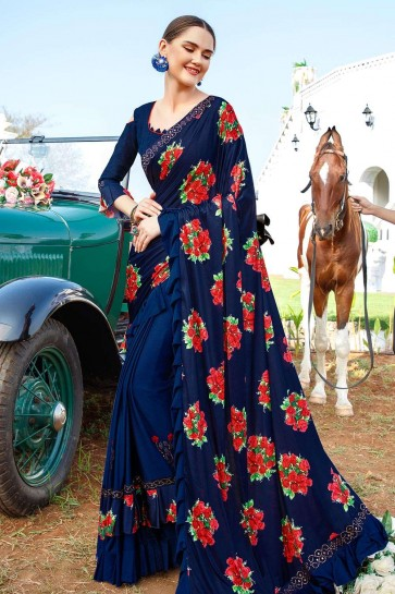 Royal blue Lycra  saree