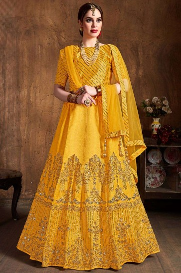 Yellow Art silk Lehenga Choli