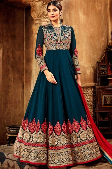 Prussian blue Georgette Anarkali Suits