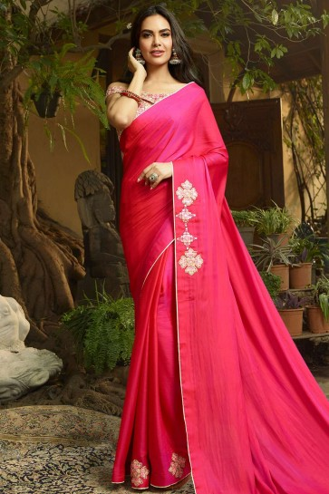 Rani Pink Silk Bollywood Saree