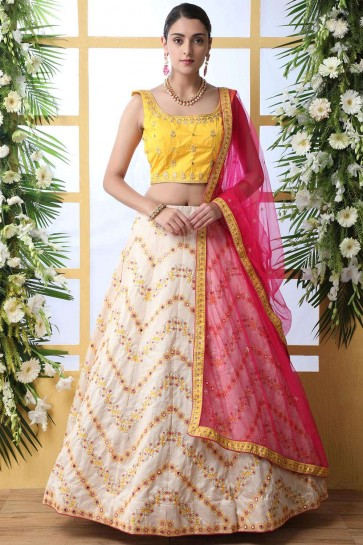 Cream Art silk Lehenga Choli