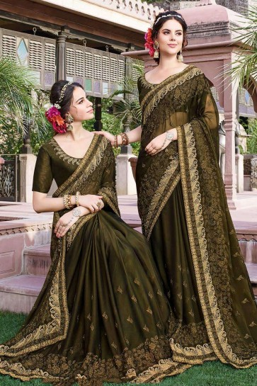 Dark olive green Georgette  saree