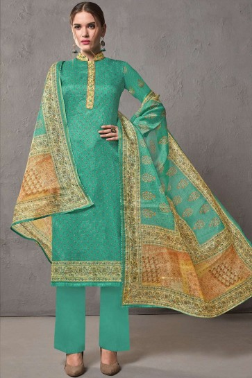 Sea green Cotton and silk Palazzo Suits