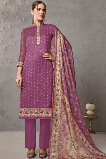 Purple Cotton and silk Palazzo Suits