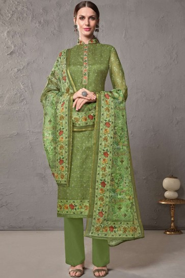 Green Cotton and silk Palazzo Suits
