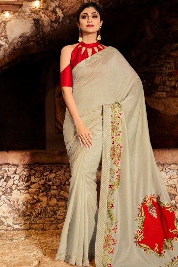 Pale grey Silk  saree