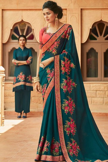 Teal blue Georgette and satin  saree
