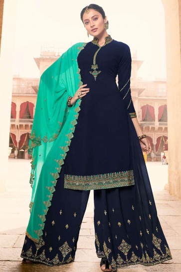 Navy blue Georgette Sharara Suits