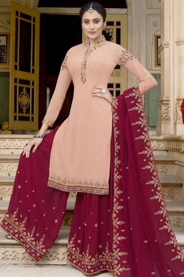 Peach Georgette Sharara Suits
