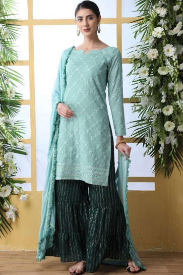 Sea green Cotton Sharara Suits