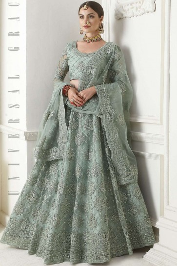 Dusty green Net Lehenga Choli